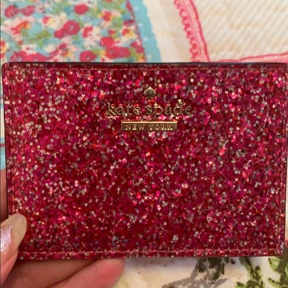 ❥ Kate Spade pink glitter card holder ❥